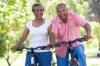 black couple biking